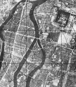 Satellite image of Hiroshima before the atom bombs were dropped