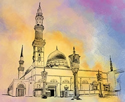 Illustration of the Prophet Muhammad's Mosque in Madinah.© Masood Tahir (Waqfe Nau), London, UK.