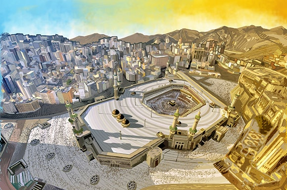 Illustration of the Ka'abah and the sacred Mosque in Makkah.