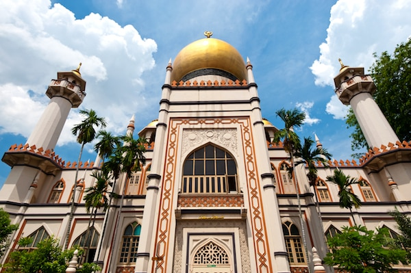 The Sultan Mosque was built in 1824 by Sultan Hussain Shah, the first Sultan of Singapore, with help of funds from the East India Company. Located in the Kampong Glam District of Rochor Planning Area of Singapore, it is considered one of the most important mosques for Muslims in the country. © Chrishowey | Dreamstime.com