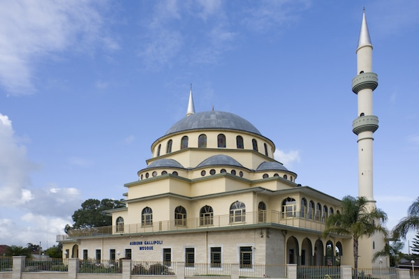 Auburn Gallipoli Mosque in Auburn, Sydney is designed with Ottoman style domes, and is used primarily by Australians originally from Turkey. © Stephen Denness Dreamstime.com