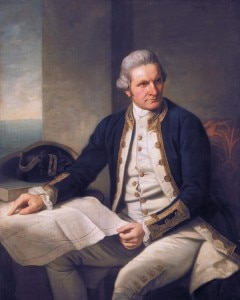 """The English navigator Captain James Cook sighted New Zealand on 6 October 1769, and landed at Poverty Bay two days later. He drew detailed and accurate maps of the country, and wrote about the Māaori people."" (The Encyclopedia of New Zealand - http://www.teara.govt.nz/) Photo: Official portrait of James Cook in 1776 from the National Maritime Musuem, UK"