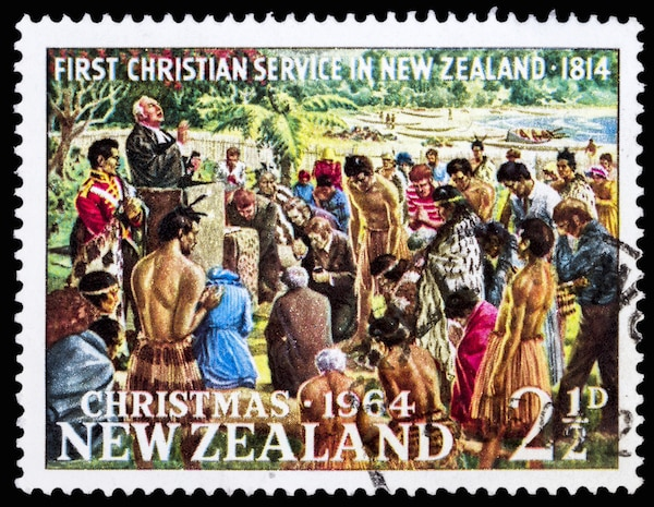 Samuel Marsden conducting reportedly first Christian Service, Rangihoua Bay, Christmas, circa 1964. Marsden is often credited as the first to introduce Christianity to New Zealand. © Taigi / Shutterstock.com