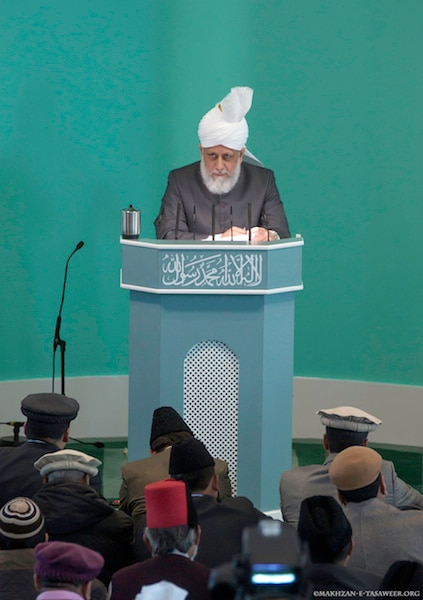 His Holiness delivering the Friday Sermon from the Baitul Futuh Mosque in London. Source: File Photo.