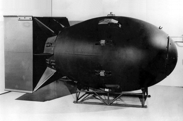 Replica of the nuclear bomb dropped on Nagasaki, Japan, on August 9, 1945 during World War II. Nuclear warfare has drastically improved since then. (accessed via Wiki Commons).