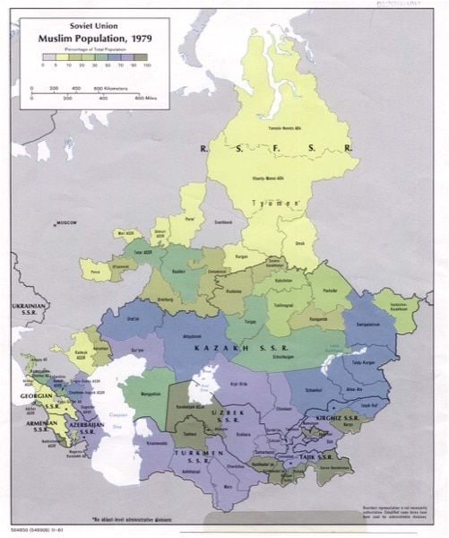 The image highlights the vast number of Muslims in the Soviet Union during 1979. It would have been a struggle to practice their faith openly without a backlash from the government. (accessed via Wiki Commons)