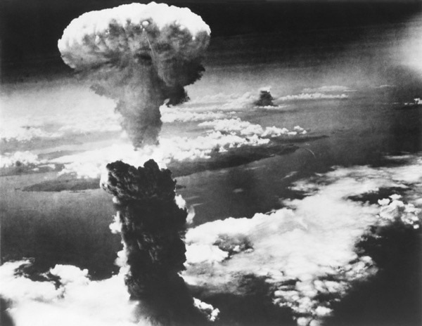 Mushroom cloud of atom bomb exploding over Nagasaki in Japan during the war