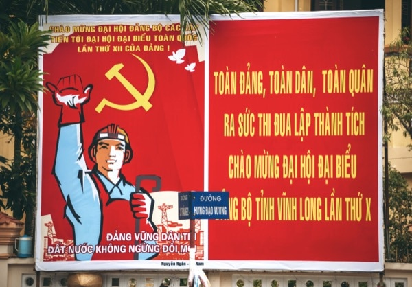 Image of a sign in Saigon, Vietnam. The Communist party would x elections so that their party was constantly in power showing propaganda messages to gain support from the mass public. Only political organisations a liated with the Communist Party were allowed freedom to in uence the citizens. © klublu | Shutterstock.com