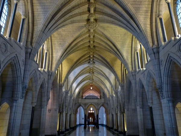 The Hall of Honour in the Centre Block in the Canadian Parliament, where, in 2014, Michael Zehaf-Bibeau killed a soldier on guard duty and then forced himself inside, eventually being killed in an exchange of gun re. This type of attack has become increasingly frequent in the last few years—leading to instability in the West. User Zipampa | Wikimedia Commons | Release under CC BY-SA 3.0