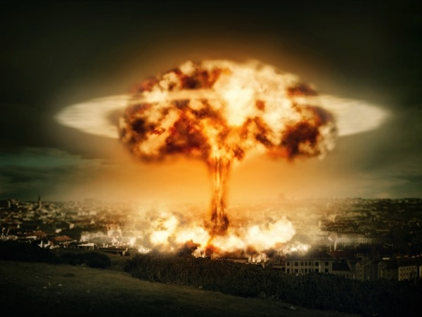 Artist's rendition of a potential nuclear explosions over a city.