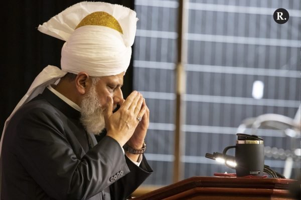 His Holiness, Hazrat Mirza Masroor Ahmad (aba), the fifth successor to the Promised Messiah (as) and the current worldwide head of the Ahmadiyya Muslim Community.