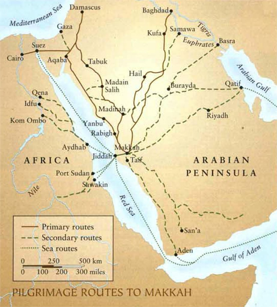 Pilgrimage routes to Makkah