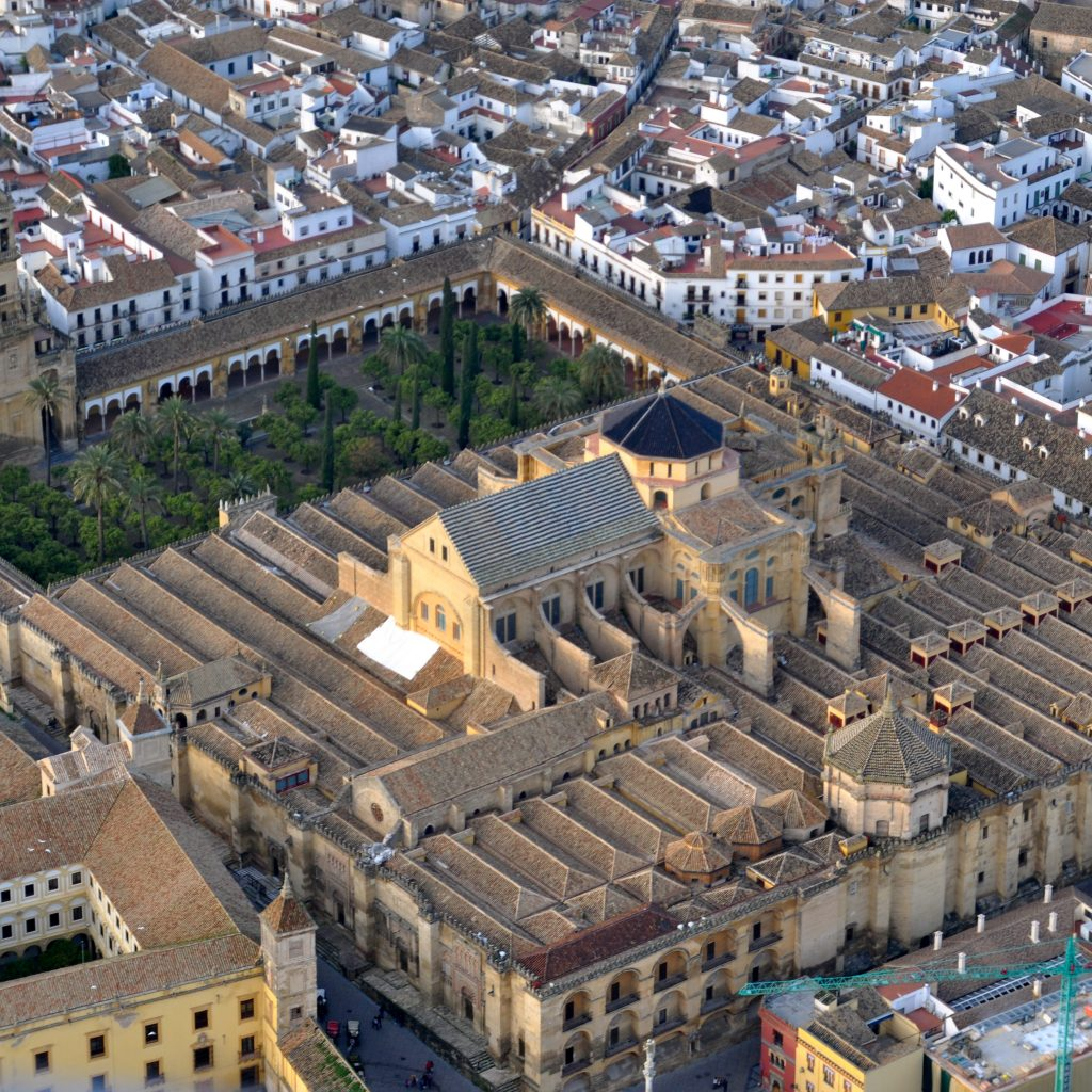 Aerial view of the Cordoba Mezquita (Mosque Cathedral) in Spain, which originally stood as a mosque and was converted to a church after Muslim rule
