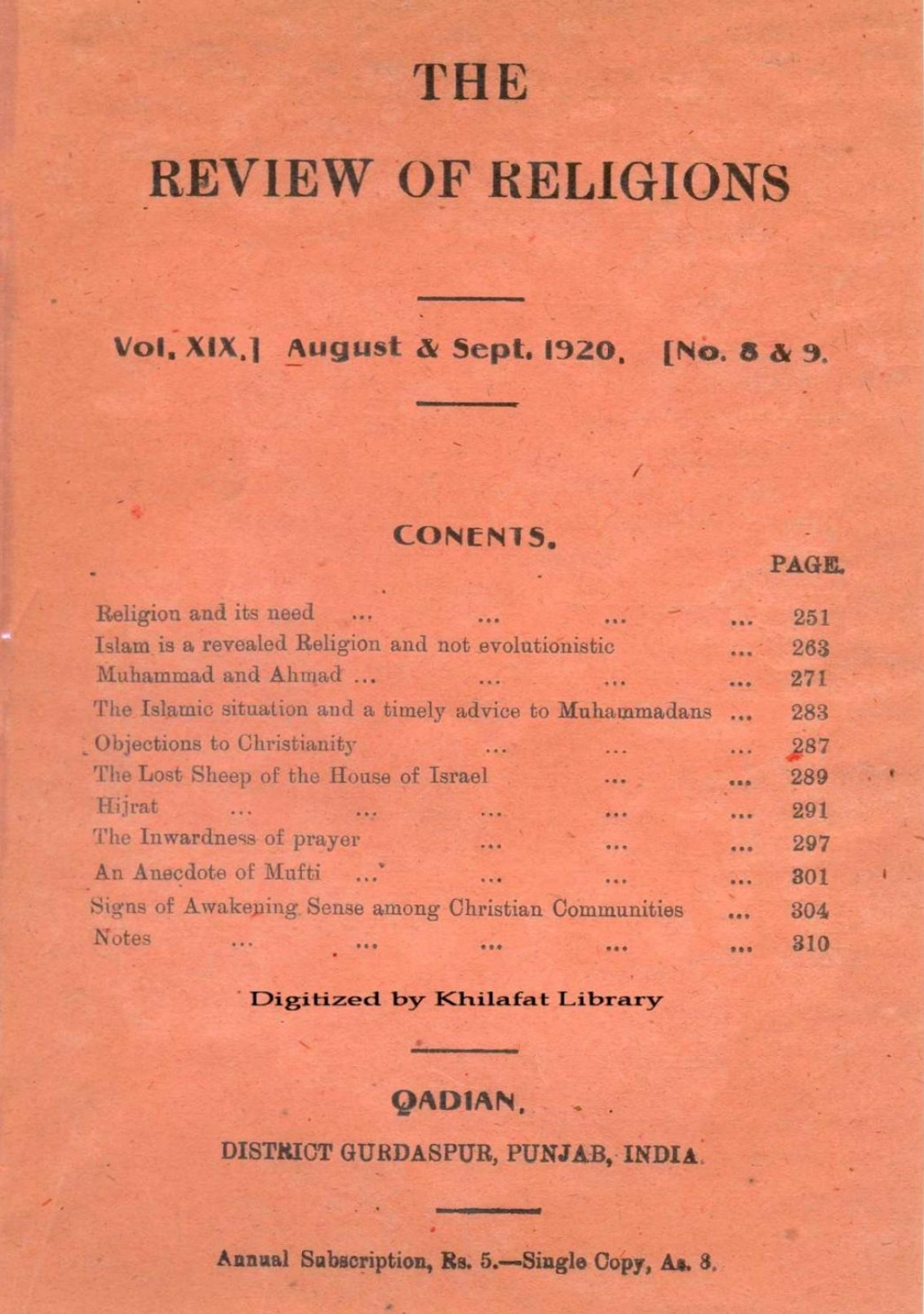Review of Religions August & September 1920