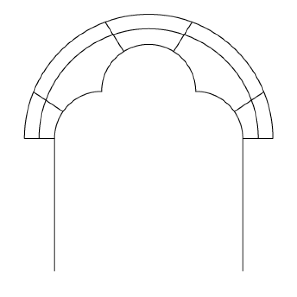 Illustration of a trefoil arch, or three-foiled cusped arch, with three overlapping rings.