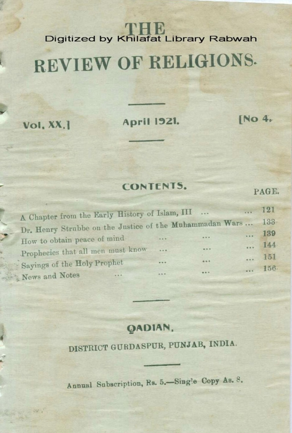 The Review of Religions April 1921