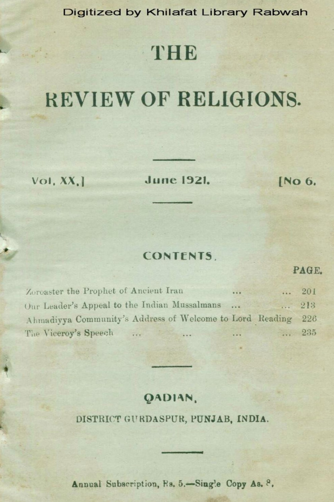 100 Year Rewind RoR June 1921